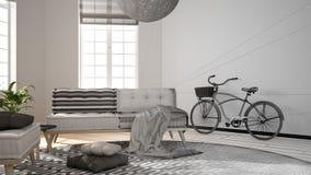 建筑师室内设计师概念:成为有大窗口的真正,斯堪的纳维亚最低纲领派客厅的未完成的项目, 库存照片