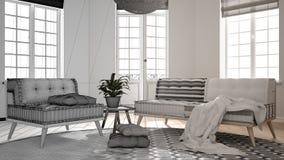 建筑师室内设计师概念:成为有大窗口的真正,斯堪的纳维亚最低纲领派客厅的未完成的项目, 向量例证