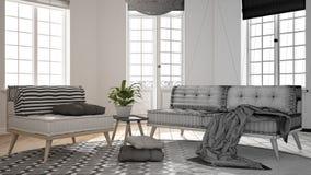 建筑师室内设计师概念:成为有大窗口的真正,斯堪的纳维亚最低纲领派客厅的未完成的项目, 免版税库存照片