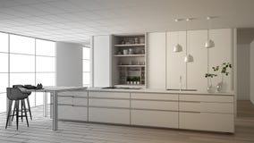 建筑师室内设计师概念:成为真正,最低纲领派厨房,海岛,窗口,竹子,水耕的未完成的项目 皇族释放例证