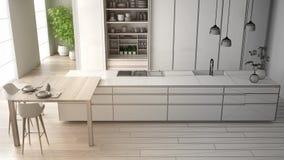 建筑师室内设计师概念:成为真正,最低纲领派厨房,海岛,窗口,竹子,水耕的未完成的项目 库存例证