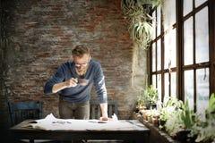 建筑师工程师设计运作的计划概念 免版税库存照片
