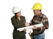 建筑师承包商女性见面 库存图片