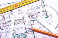 建筑师楼面布置图s工具 免版税库存照片