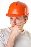 建筑师沉思的工程师 库存照片