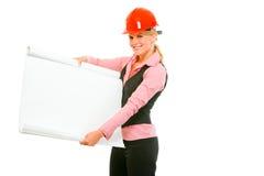 建筑师空白图表轻碰现代显示的妇女 库存照片