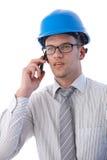 建筑师纵向移动电话的 免版税库存图片