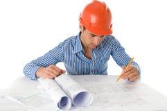 建筑师纵向运作的年轻人 免版税库存照片