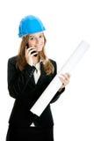 建筑师美丽的女性 免版税库存照片