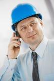 建筑师联系在移动电话 免版税图库摄影