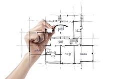 建筑师草拟的房子 免版税库存图片