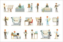 建筑师行业套与建筑师设计项目的传染媒介修造的例证和图纸 皇族释放例证