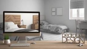 建筑师设计师项目概念,与钥匙、3D信件词卧室设计的木桌和桌面显示的草稿,图纸C 免版税图库摄影