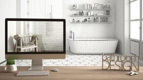 建筑师设计师项目概念,与钥匙、3D信件词卫生间设计的木桌和桌面显示的草稿,图纸 免版税库存图片
