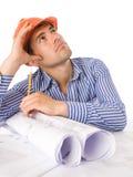 建筑师运作的年轻人 免版税库存图片