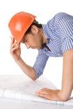 建筑师运作的年轻人 库存图片