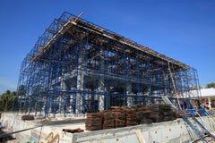 建筑建筑工地在铁框架阶段 免版税库存图片