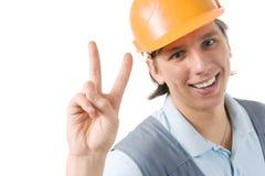 建筑微笑的工作者 免版税库存图片