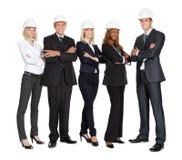 建筑成功的小组白色工作者 库存照片