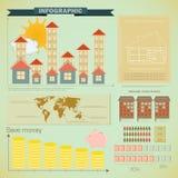 建筑房子infographics集合葡萄酒 免版税库存照片