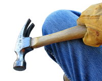 建筑手套的锤子工作者 库存照片