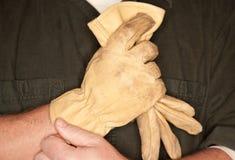 建筑手套皮革人放置 图库摄影