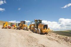 建筑挖掘机的推土机挖掘机站点 免版税图库摄影