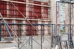 建筑旗布在建筑工地工作场所 免版税库存照片