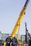 建筑机械和工作者 库存照片