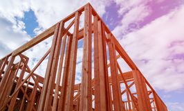 建筑构成的家庭新的住宅站点 放置户外站点的砖建筑 免版税图库摄影
