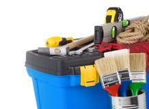 建筑查出的工具箱用工具加工白色 免版税库存图片
