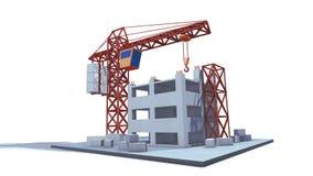 建筑用起重机举装载到大厦的顶层 3d使成环的动画 皇族释放例证
