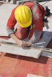 建筑画线路垂直工作者 库存图片