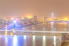 建筑秀丽风帆桥梁韩桥梁,岘港市越南 免版税库存照片