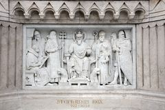建筑细节-圣斯德望国王现代雕塑在布达佩斯 免版税库存照片
