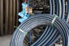 建筑高密度聚乙烯管道存储 免版税库存图片