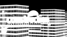 建筑,住宅microdistrict的建筑的元素在云彩时间间隔的背景中, 影视素材