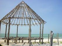 建筑holbox小屋palapa结构木头 免版税库存照片