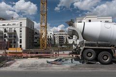 建造场所在一个新的区Europaviertel法兰克福,德国 库存图片