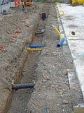 建造场所用管道输送排水设备 库存图片