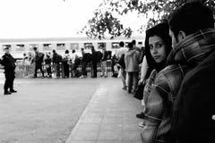 离开匈牙利的难民 图库摄影