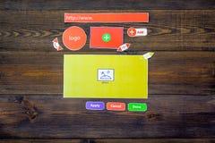 开发的互联网网站 网站设计观念 元素,块,仪器,工具为在黑暗木做站点 图库摄影