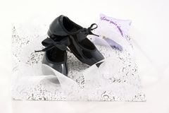 开发鞋子和丝带 库存照片