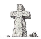 开口叉流喷泉人修道院s神圣的石水 免版税库存照片