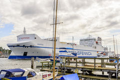 离开吕贝克的港Kraftica 免版税库存图片