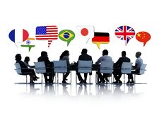 开国际的商人会议 库存照片