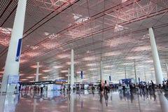 离开大厅北京首都国际机场 库存照片