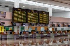 离开大厅在阿雷西费机场 免版税库存图片