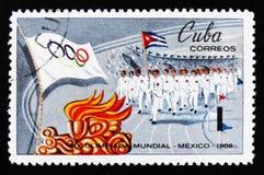 开头游行,奥运会在墨西哥,大约1968年 免版税库存照片