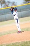 开始他的小职业棒球联盟投手结束。 图库摄影